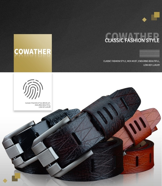 COWATHER Quality Cow Leather Men's Belts BIG SIZE 100-130cm free shipping