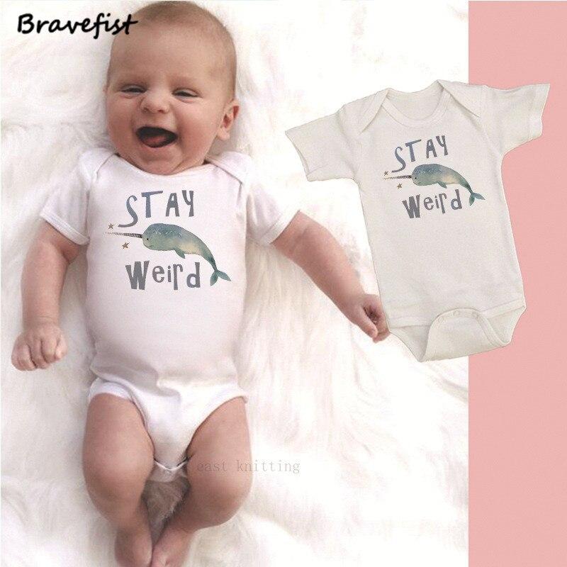 Infant Baby Girl Boy Cute Narwhal BodysuitRomper Jumpsuit Short Sleeve Bodysuit Tops Clothes