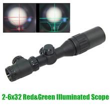 Тактический прицел 2-6x32 с красной и зеленой подсветкой Mil-Dot AOE в комплекте с солнцезащитным козырьком и кольцами для прицела, маркировочная в...