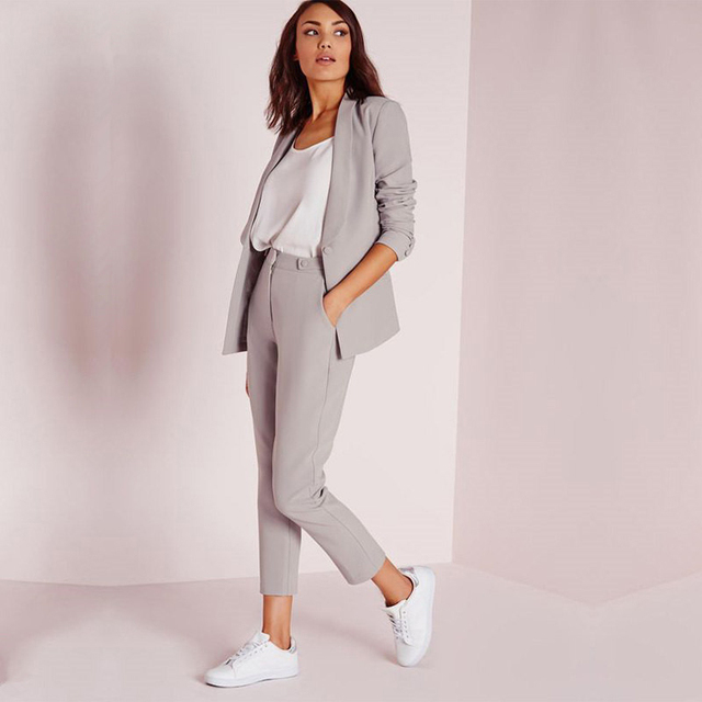 Light Gray Womens Business Suits Female Office Uniform Ladies Trouser Suits Formal Womens Tuxedo Pants 2 Piece wedding Suits