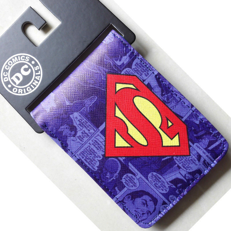 2018 New Hot DC Comics Superman S Logo wallets Purse purple 12cm Leather Man women W015 2018 dc comics batman logo bifold wallets purse silver 12cm leather w341