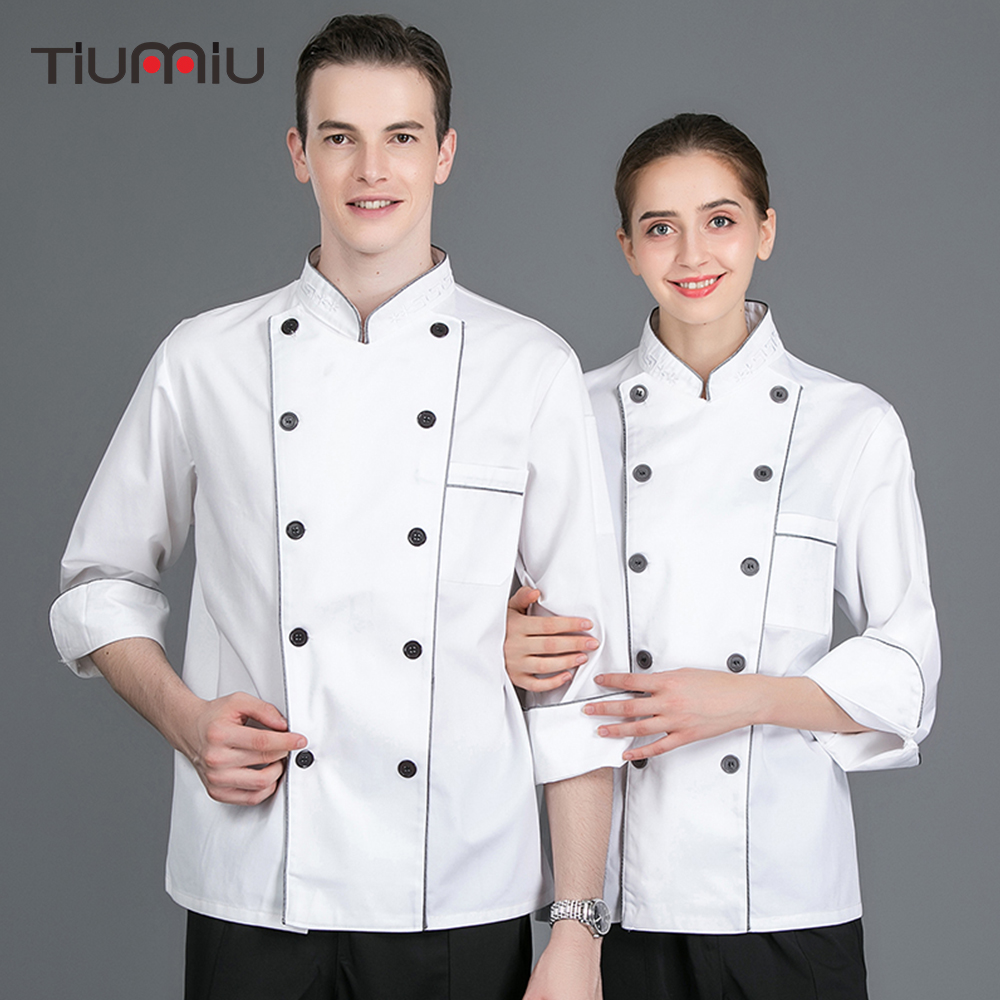 Chef Uniform White Top Chef Work Jackets Food Service Cafe Bakery Hotel Waiter Restaurant Kitchen Uniforms Long Sleeve Overalls