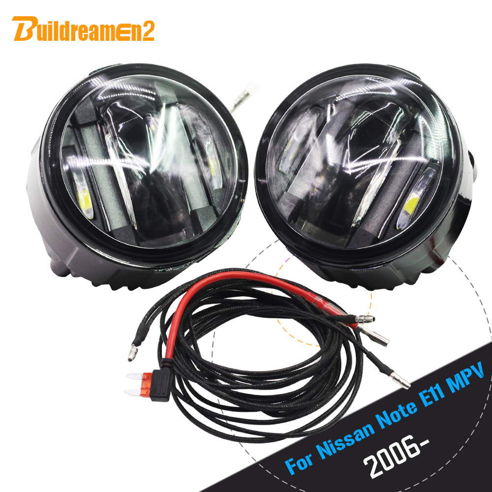 Buildreamen2 2 X Car LED Fog Light Daytime Running Lamp DRL Accessories High Power For Nissan Note E11 MPV 2006 Up cawanerl 2 x car led fog light drl daytime running lamp accessories for nissan note e11 mpv 2006