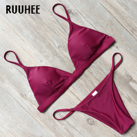 RUUHEE Bikini Swimwear Women Swimsuit 2017 Brand Sexy Bikini Set Bathing Suit Solid Brazilian Beachwear Push