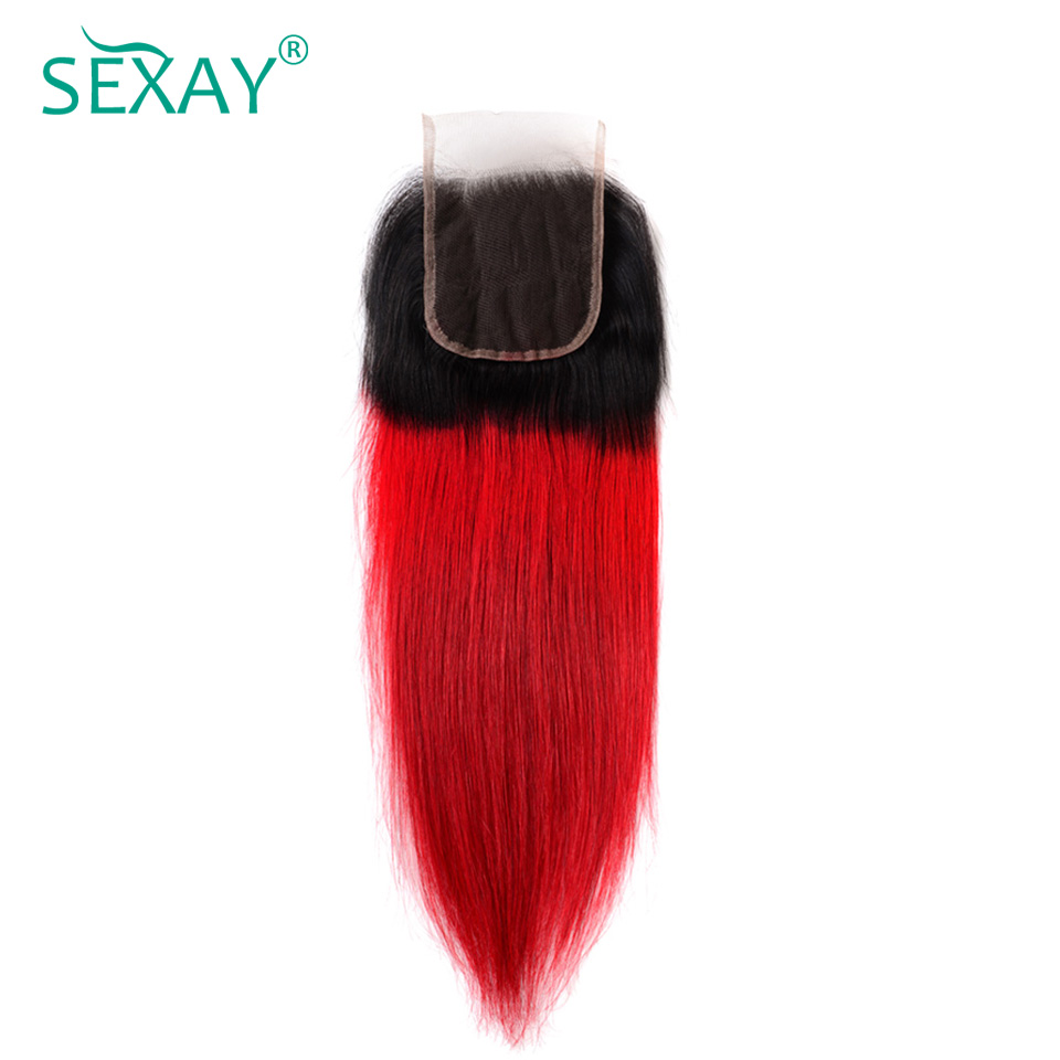 Sexay Red Ombre Lace Closures Pre-colored Non-Remy Human Hair 1B/Red Ombre Brazilian Straight Hair 4x4 Closures With Baby Hair