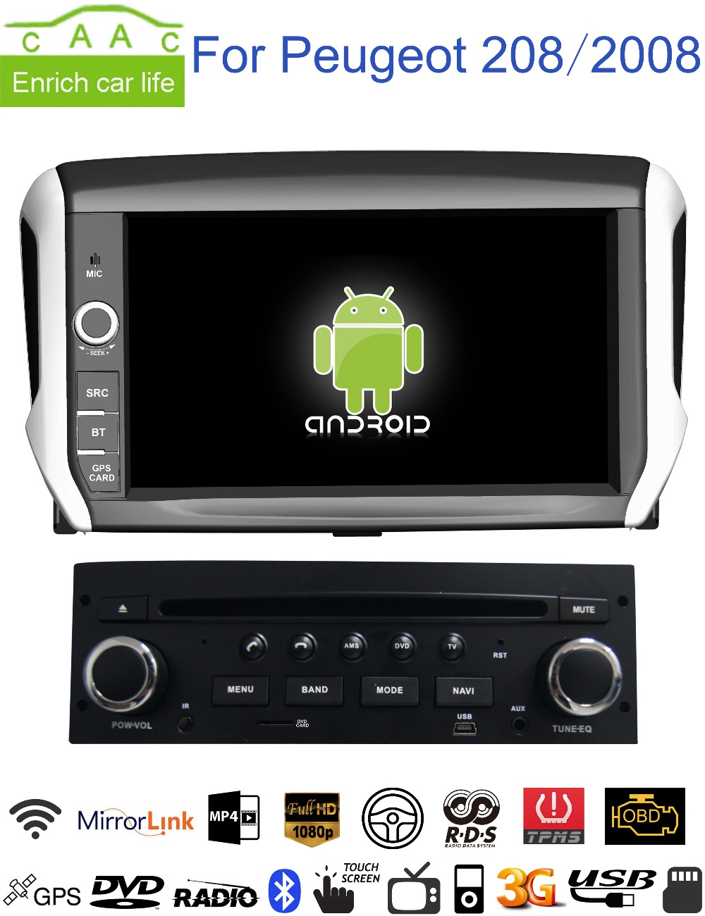 android gps navigation 8 car dvd player for peugeot 208. Black Bedroom Furniture Sets. Home Design Ideas