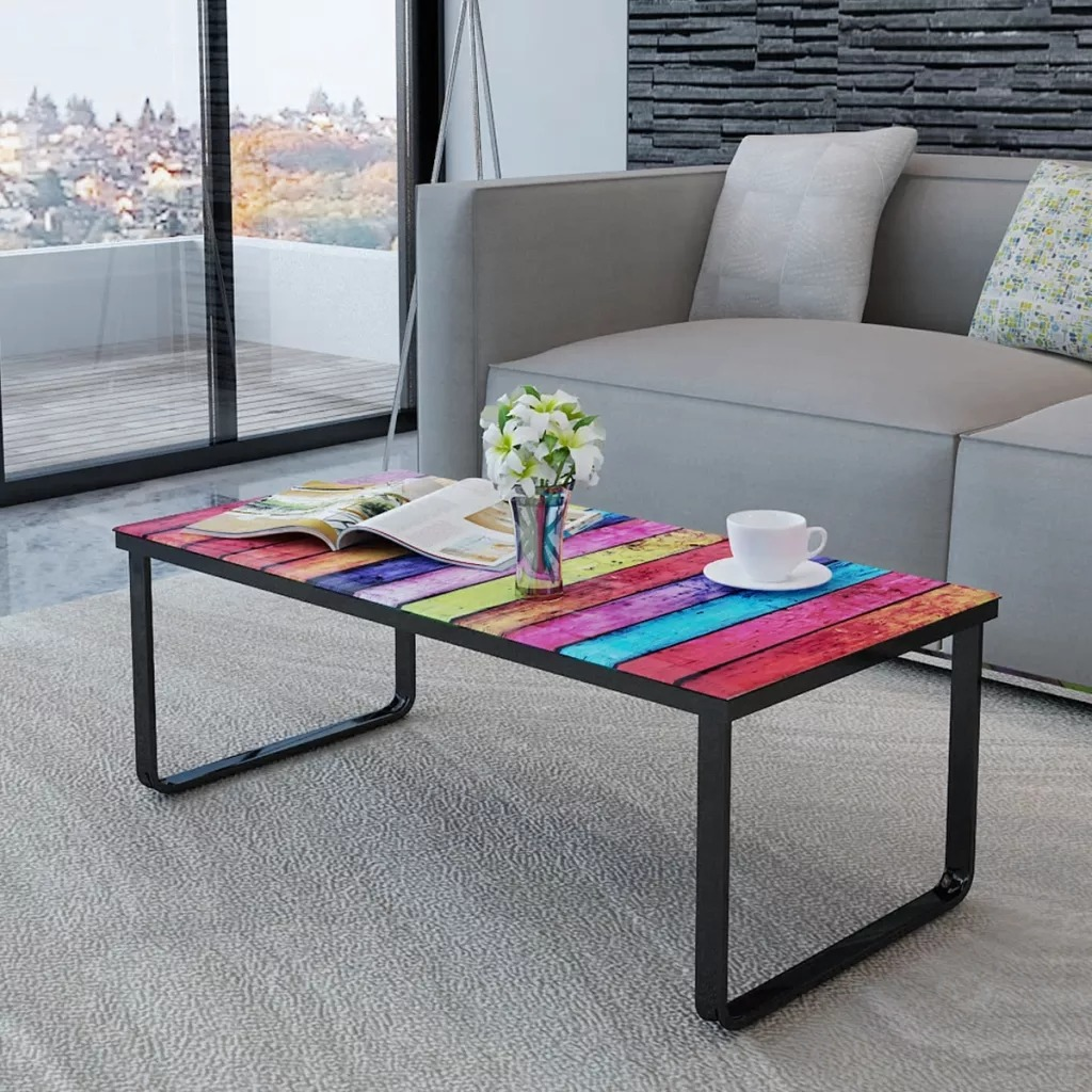 VidaXL Coffee Table With Rainbow Printing Glass Top Living Room Table Modern Style Desk Home Furniture Elegant Side TableVidaXL Coffee Table With Rainbow Printing Glass Top Living Room Table Modern Style Desk Home Furniture Elegant Side Table