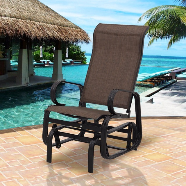 Goplus Patio Glider Rocking Bench Rocker Person Chair Seat Armchair Pool  Backyard Aluminum Modern Outdoor Chairs