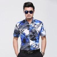Hot selling zomer bloemen shirt voor man 2017 nieuwe ontwerp bloemen gedrukt mannelijke kleding korte mouw bloemen mannen casual jurk shirts