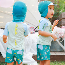 Boys Swimwear 2018 2-Pieces Rash Guards Dinosaur Baby Beach Holiday Spa Sunscreen 3pcs/Set Top+Trunks+Hat Bathing Suit