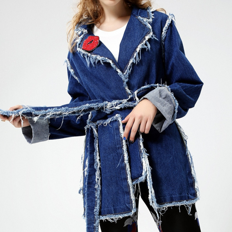 Be033 Mode Turn Personnalité Denim Nouveau Vêtements Manteau Veste Patchwork Vintage De down Ceintures Col Femmes Blue Rouge ewq Lèvres La Bandage H1q7xwC7