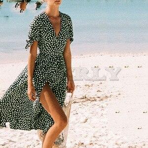 Cuerly 2019 summer v neck green print dress women boho beach knee length bow dress split asymmetrical dress vestidos L5