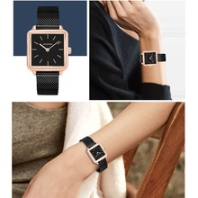 2018 Women  Stainless Steel Mesh Quartz Watches Lady Waterproof  Rose Gold Slim Leather Square Wristwatches Clock Montres Femme
