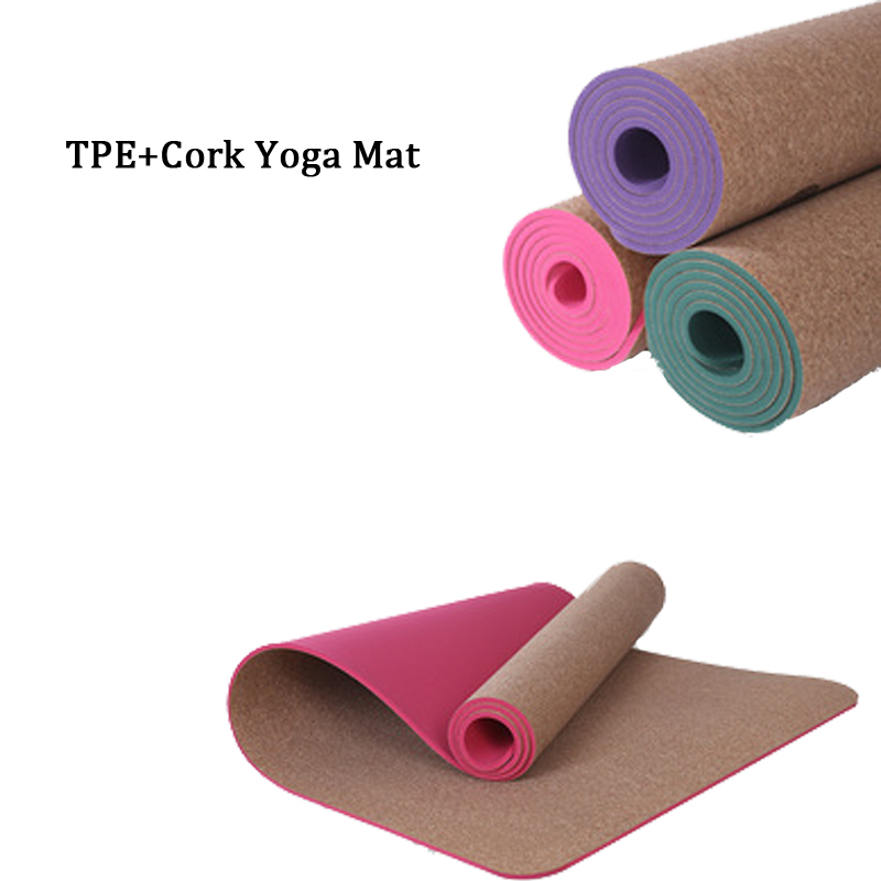 Gym Mats Cork: 5MM Non Slip Natural TPE+Cork Brand Yoga Mat Antibacterial