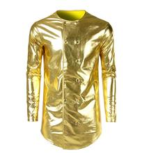 Double-breasted jacket men casual Medium and long clothes jaqueta masculina chaqueta hombre mens jackets Bright bronzing coats цены онлайн