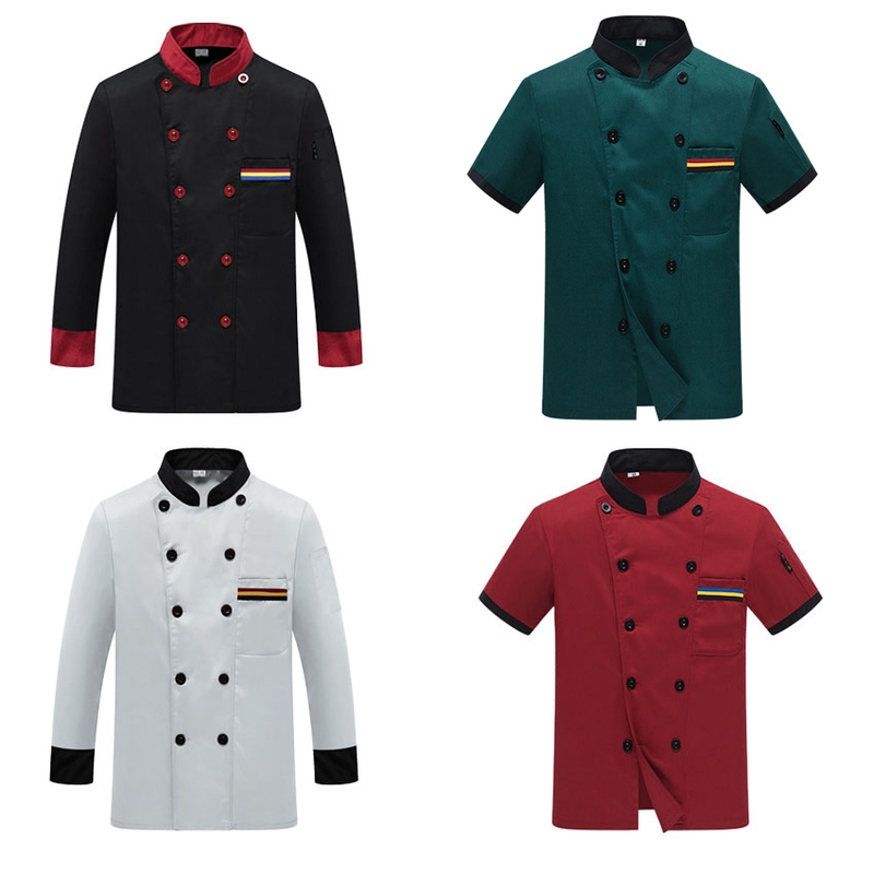 Chef Uniform Costume Breathable Food Service Top Custom Logo Printing Short full Sleeve Restaurant Kitchen Man Shirt Clothing image