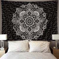 Mandala Tapestry Wall Hanging Black & White Wall Art Floral Decorative Bedroom Living Room