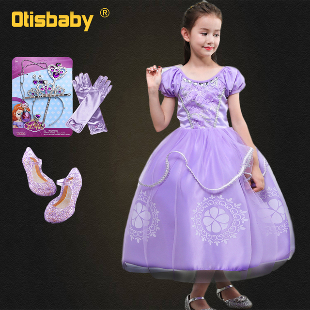 a47bb11f7957 Sophia Princess Dress Girls Sofia Dress Rapunzel Costume Sofia the First  Halloween Costumes Party Children Purple Ball Gowns