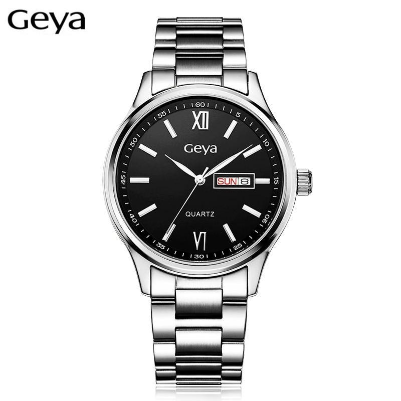Geya Luxury Top Brand Women Quartz Watches Calendar Stainless Steel  Luminous Lovers Waterproof Wristwatch Geya Men Watch