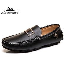 ALCUBIEREE Brand Mens Fashion Mental Horse Loafers Summer Man Casual Driving Shoes Slip-on Flat Moccasins Boat Big Size 48