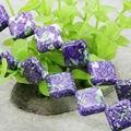 Popular 14mm Venta Caliente Riverstone Lluvia Flor de Piedra del Arco Iris de la Gema Cuadrada Diagonal Suelta Granos DIY Artesanía fabricación de La Joyería Accesorios