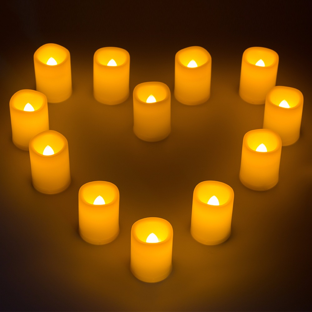 Kohree 12 Packs Led Timer Candle Lights Battery Operated Pillar Votive Candles Night Light For Wedding Christmas Decoration
