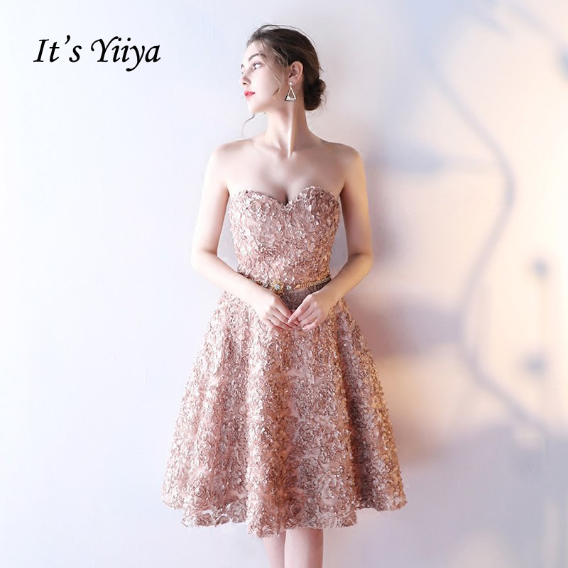 It's YiiYa   Bridesmaids     Dresses   Strapless Sexy Draped Flower Appliques Knee Length Dinner Lace Up Party Short Formal   Dress   YS036