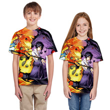 Boy Girl T-shirts Anime Naruto Tokyo Ghouls 3D Print Cartoon t-shirts Children Short Sleeve Casual Tops Tees Kids Summer Clothes цена