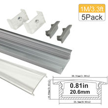 3.3ft/1m 5-Pack 20mm LED Aluminum Channel System for 5050 3528 LED Strip Light Installations Aluminum LED Profile with Covers