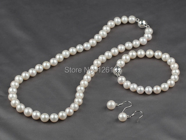 Nice A Grade 8 5 9mm Natural White Freshwater Pearl Necklace Bracelet Earrings Set