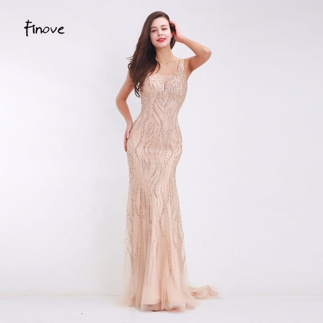 Finove Beading Champagne Evening Dresses Sexy V-Neck Back 2017 New Simple Design Floor Length Long Sweep Train Dresses for Party