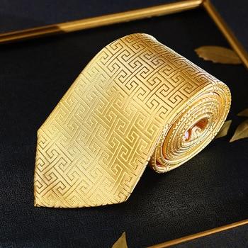 Uomini squisiti Oro Ufficio di Affari Del Partito Cravatta Stile Cinese Nanjing Yunjin Cravatte di Alta Regalo di Nuovo Anno del Regalo Tradizionale Legame Maschio