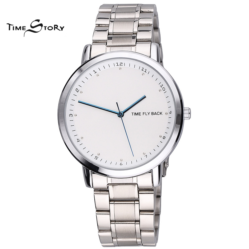 Brand Time Story Classic Fashion Anticlockwise Watch Men Business Casual quartz Wrist Watches Stainless Steel Strap