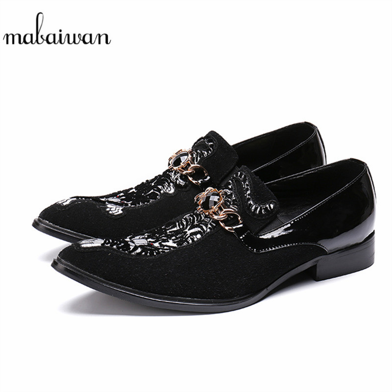 Mabaiwan Fashion Handmade Men Shoes Tiger Embroidery Black Leather Loafers Dress Party Shoes Men Pointed Toe Flats Size 38-46 fashion tassels ornament leopard pattern flat shoes loafers shoes black leopard pair size 38