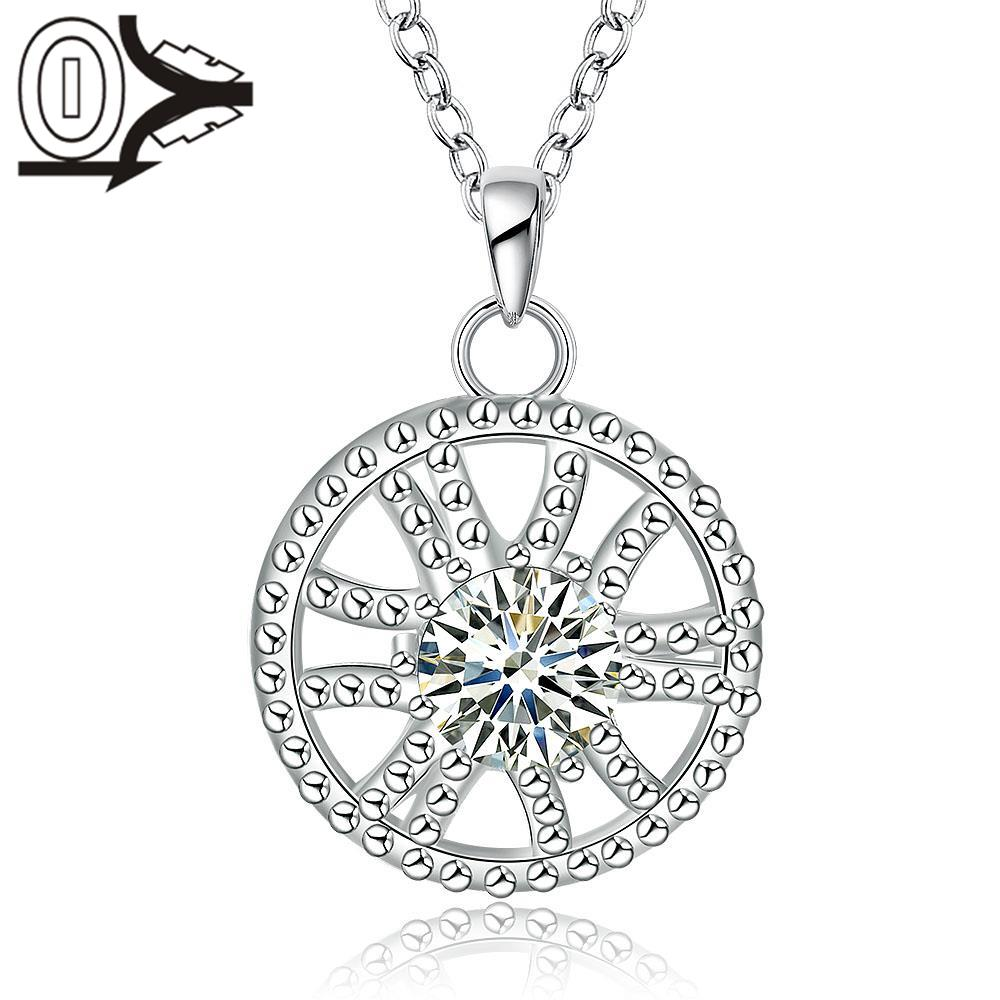 Wholesale Silver Plated Necklace&Pendant,Wedding Jewelry Accessories,Inlaid Round Zircon Flower Silver Necklaces