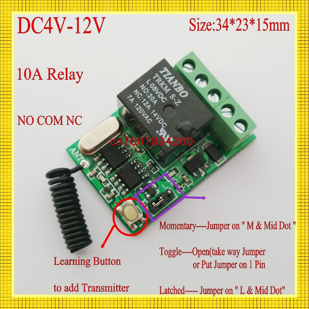 mini relay remote switch DC 4V 45V 5V 6V 74V 9V 12V 10A Micro