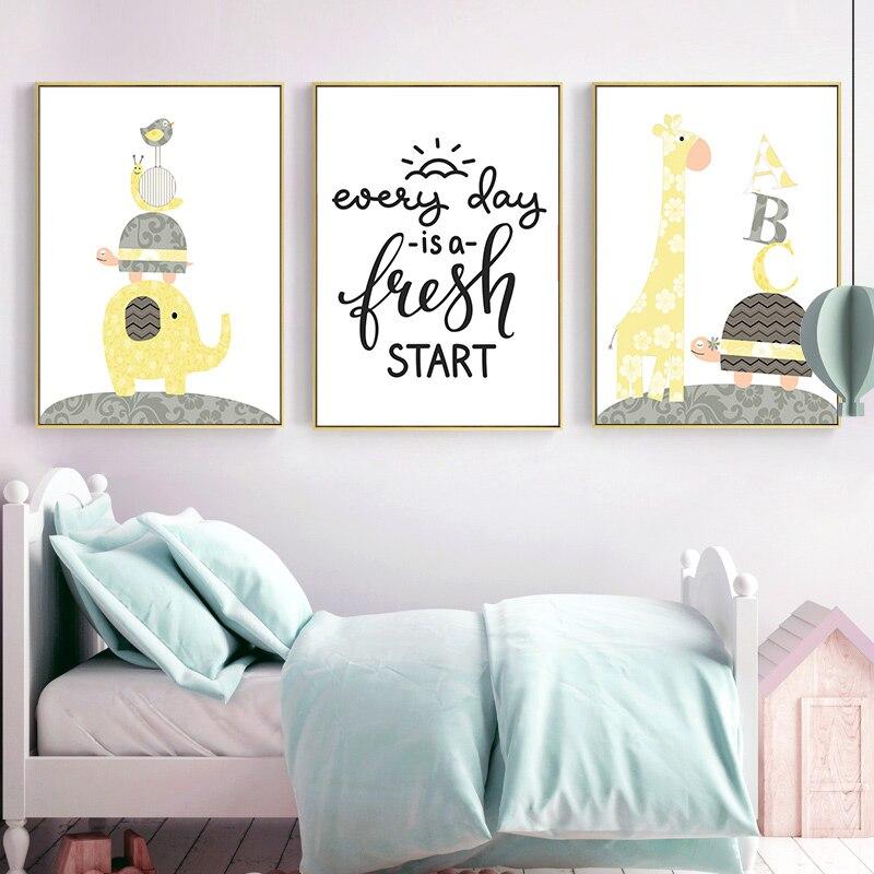 Cartoon Giraffe Elephant Cat Art Canvas Nursery Poster Kids Room Decoration