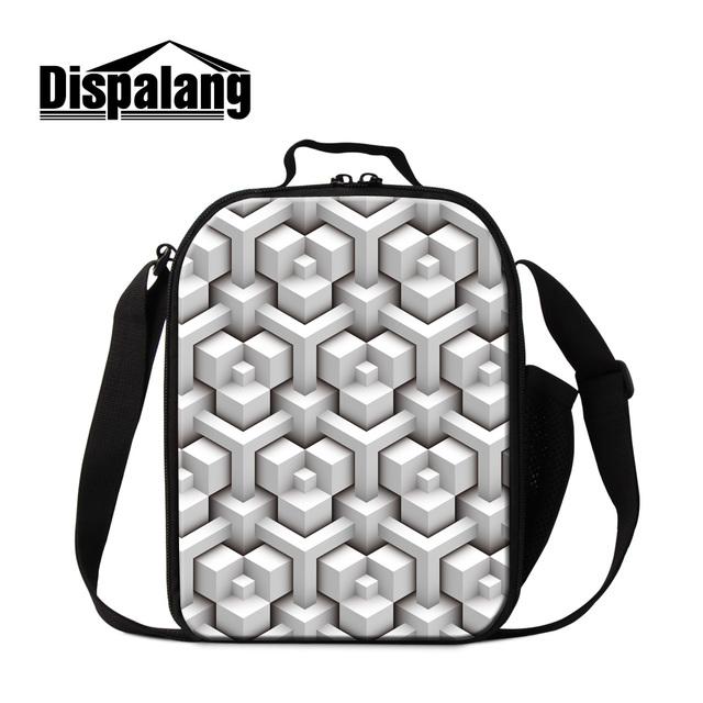 Dispalang portátil duplas zipper lunch bags para mulheres escritório alimentos caixa de geometria 3d projeto sacos térmicos almoço térmica saco do piquenique