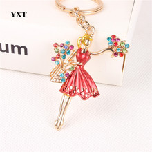 New Fashion Ballet Girl Dress Flowers Crystal Charm Purse Bag Car Key Ring Chain Party Wedding Creative Lover Gift Accessories