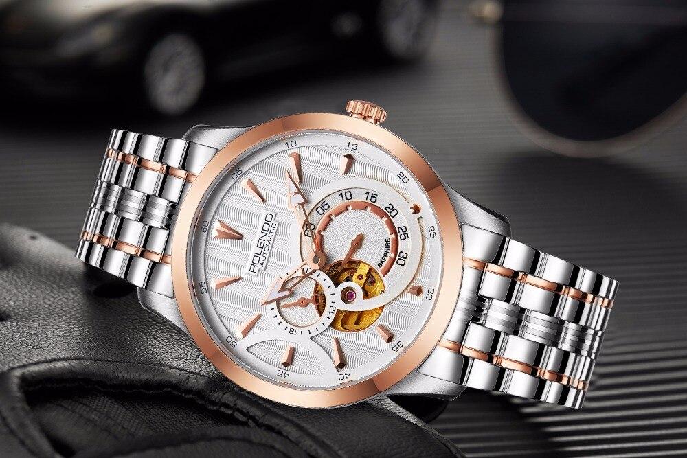 Rolendo 2018 Топ бренд класса люкс Горячая продажа автоматические мужские часы Скелет сталь Золотой корпус белый водонепроницаемый Мужские меха