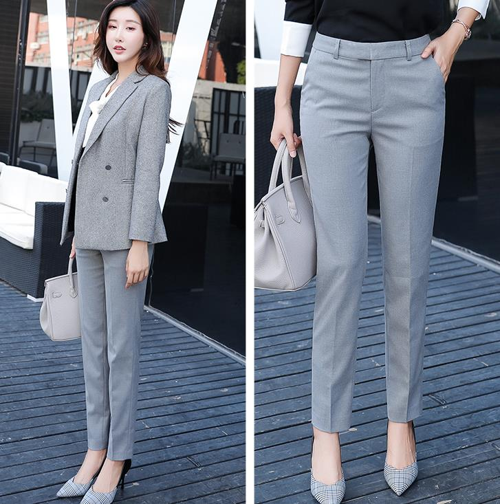 Women Mid Waist Suit Pants Plus Size Casual Work OL Pants 2018 Spring Autumn Career Grey Pants Fashion Bell-bottom Trousers