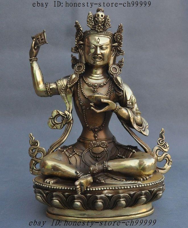Tibet Buddhism Fane Brass Copper Padmasambhava Guru Rinpoche God Buddha Statue