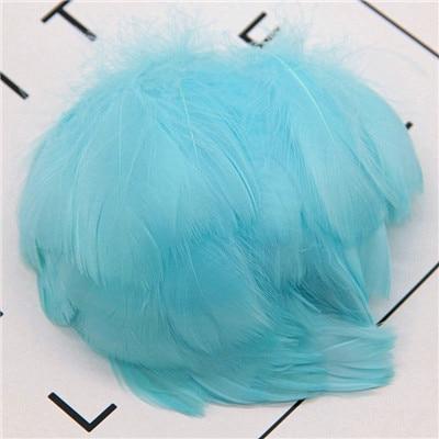 Натуральные перья лебедя 4-7 см 1-2 дюйма маленькие плавающие Шлейфы гусиное перо цветной шлейф для украшения рукоделия 100 шт - Цвет: light blue 100pcs