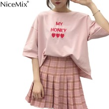 NiceMix 2019 Summer Harajuku T Shirt Women Loose Kawaii Tops Casual Pink T-shirt Oversized Embroidery Heart Tees Vetement Femme