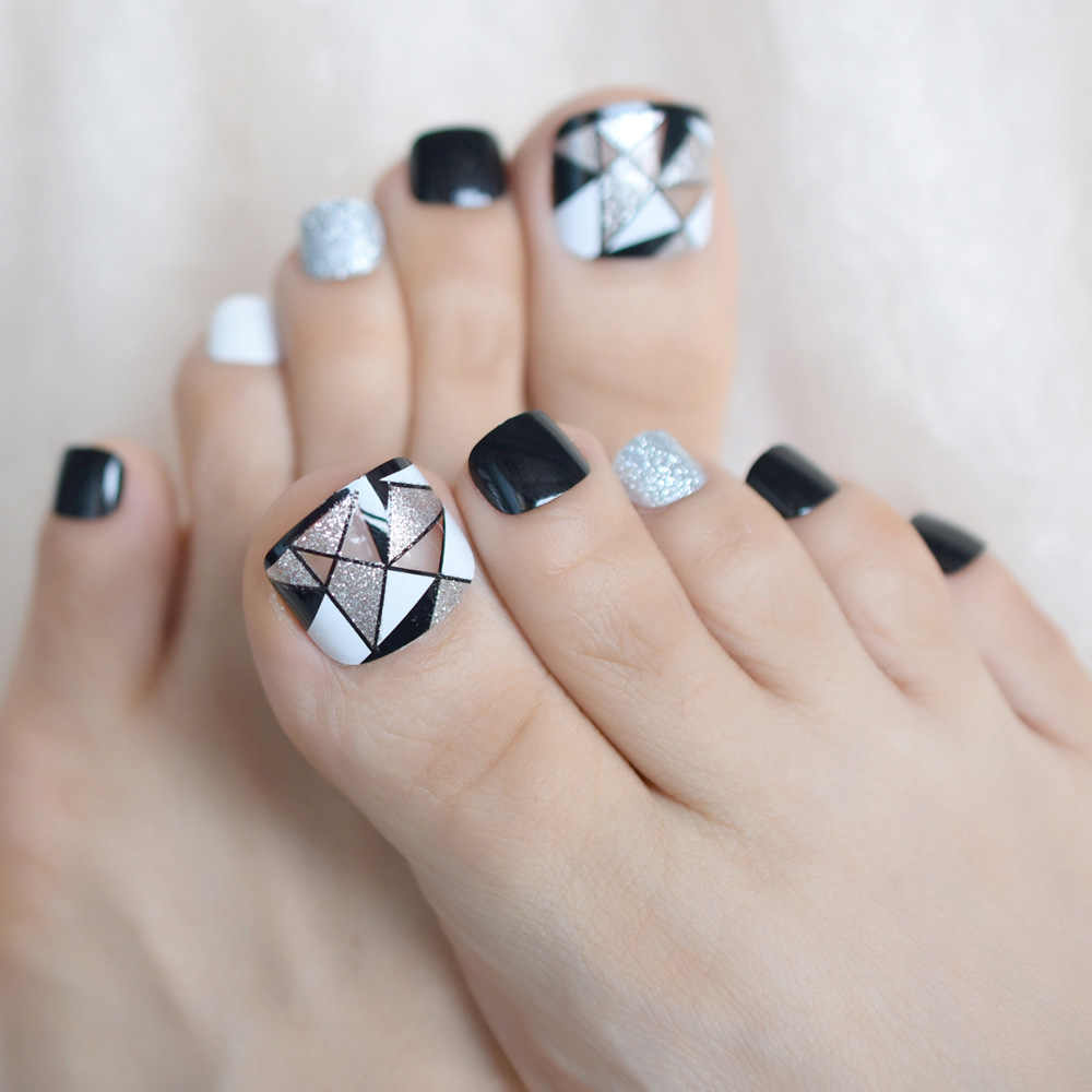 Geometric Triangle Fake False Toenails Press on Sticker White Black Silver Glitter Toe Nails Tips Foot Wear Nail Decoration Tips