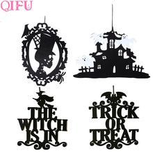1pcs Black Trick Or Treat Skull Halloween Pendant Decoration Party Decor Door Props Horror Accessories