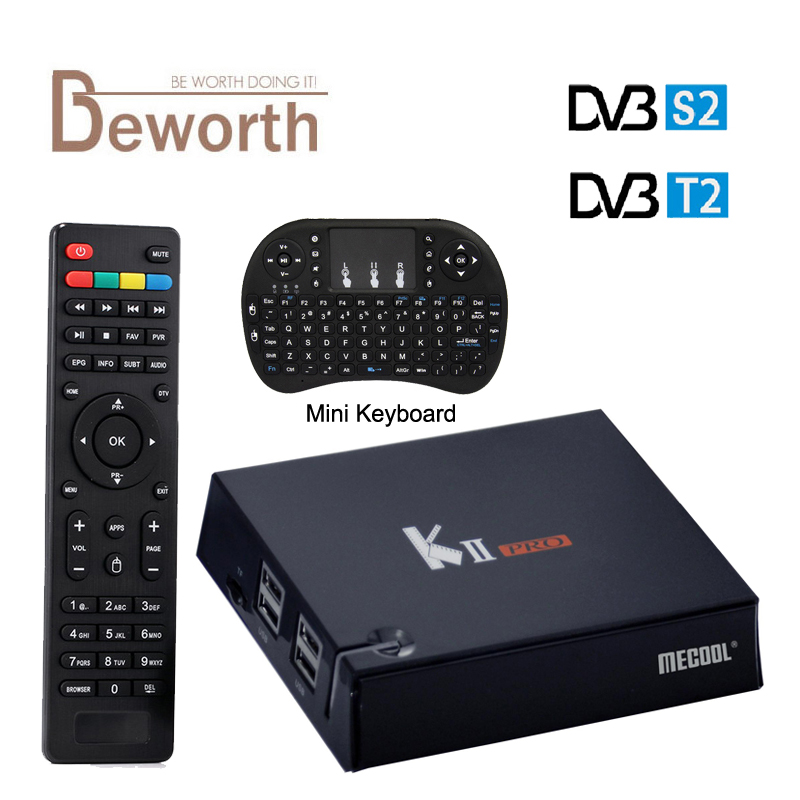 MECOOL KII Pro DVB-T2 + DVB-S2 Android 5.1 TV Box 2GB/16GB Amlogic S905 Quad-core 4K 2.4&5G Wifi Bluetooth KIIpro Set Top Box mxiii pro android amlogic s812 quad core 2g 8g 5g wifi tv box