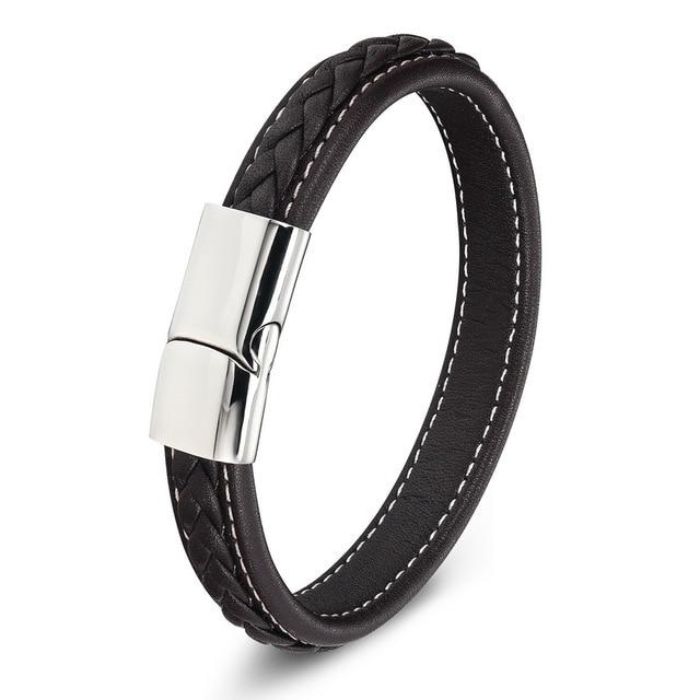 Black Genuine Leather Braid...