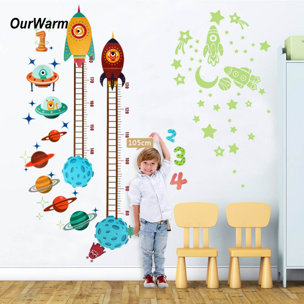OurWarm Kids Birthday Party Decorations Rocket Height Stickers luminescent Baby Nursery  ...