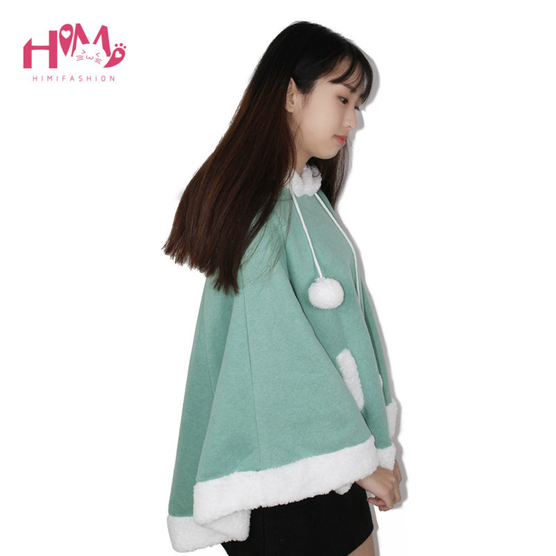 Christmas Hooded Cloak Winter cape Women Pink Unlined Upper Garment Sets Fleece Lovely Japanese Coat Blue  10